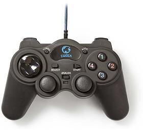 NEDIS gamepad/ USB/ 12tlačítek/ kompatibilní sezařízeními USB/ černý/ kabel 1,5m
