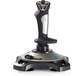 NEDIS joystick/ USB/ 12 tlačítek/ kompatibilní se zařízeními USB/ černý/ kabel 1,5m