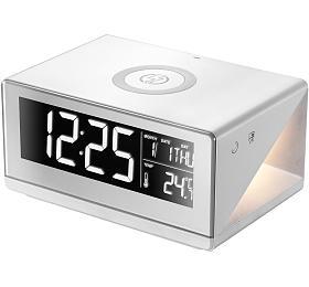 IMMAX budík s nočním podsvícením a bezdrátovým nabíjením QI/ 12W/ 5V/1A/ 3 stupně osvětlení/ bílý
