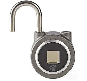 NEDIS chytrý zámek/ Bluetooth 4.0/ micro USB/ odemknutí pomocí otisku prstů/ dobíjecí/ kov/ šedý