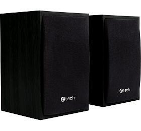 C-TECH reproduktory SPK-09, 2.0, dřevěné, černé, USB napájení, 4W, 3,5mm jack
