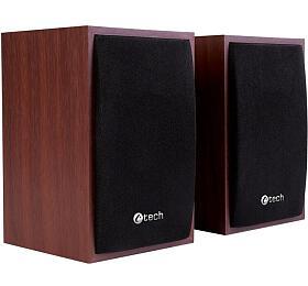 C-TECH reproduktory SPK-09, 2.0, dřevěné, USB napájení, 4W, 3,5mm jack