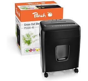 PEACH skartovač Cross Cut PS500-46, 12 listů, Autostart, zpětný chod, P-4, 15 litrů