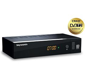 SKYWORTH DVB-T/T2 přijímač T21FTA/ Full HD/ H.265/HEVC/ CRA ověřeno/ PVR/ EPG/ USB/ HDMI/ LAN/ SCART/ černý