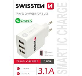 SWISSTEN TRAVEL CHARGER SMART ICWITH 3xUSB 3,1A POWER WHITE