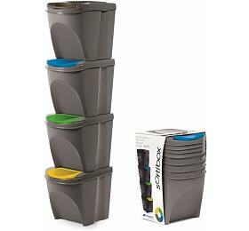 Sada 4odpadkových košů SORTIBOX šedý kámen 392x293x325 sšedým víkem análepkami PROSPERPLAST