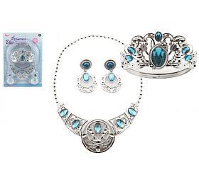 Sada krásy plast korunka +náhrdelník +naušnice 3ks nakartě