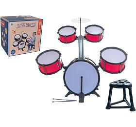 Bicí souprava/bubny plast 5ks spříslušenstvím vkrabici 42x40x32cm