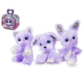Zvířátko FUR BALLS plyš Touláček VIOLET pejsek/kočka/králík fialový sdoplňky vkrabici 24x20x10cm