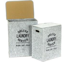 Koš prádelní zplsti, barva světle šedá, sada 2kusy, Artium, 42x30x50,36x25x45 cm