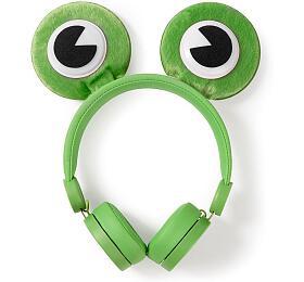 NEDIS sluchátka pro děti/ drátová/ nauši/ odpojitelná magnetická ouška/ 3,5 mmjack/ 1,2 mkulatý kabel/ Žába/ zelená