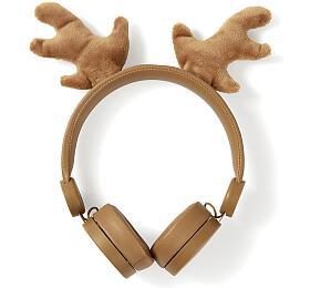 NEDIS sluchátka pro děti/ drátová/ nauši/ odpojitelná magnetická ouška/ 3,5 mmjack/ 1,2 mkulatý kabel/ Sob/ hnědá