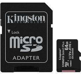 KINGSTON 64GB microSDHC CANVAS Plus Memory Card 100MB read -UHS-I class 10Gen 3