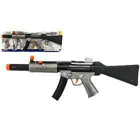 Pistole samopal policie plast 59cm nabaterie sezvukem sesvětlem nakartě