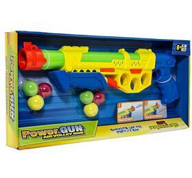 Pistole vodní stříkací pumpa+měkké míčky 6ks plast 45cm 2barvy vkrabici 50x23x5cm
