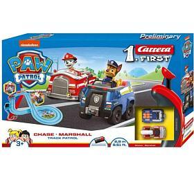 Autodráha Carrera First Paw Patrol/Tlapková Patrola 3,5m plast +2auta nabat. vkrabici 50x30x8cm