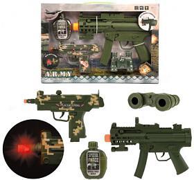 Sada pistole 2ks +doplňky plast nabaterie sezvukem sesvětlem vkrabici 41x27,5x5cm