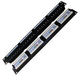 "DATACOM Patch panel 19"" UTP 24 port CAT5E DUAL 1U BK"