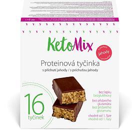 KetoMix Proteinové tyčinky spříchutí jahody 16x 40g