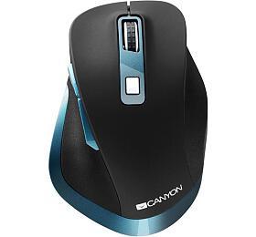 Canyon myš optická bezdrátová, senzor Pixart, DPI 800-2400, 6tlačítek, USB přijímač, černo-modrá