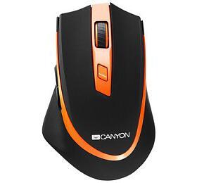 Canyon myš optická bezdrátová, DPI 800-2400, 6tlačítek, USB přijímač, černo-oranžová
