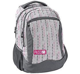 Školní taška /batoh PASO 3kapsy, šedá