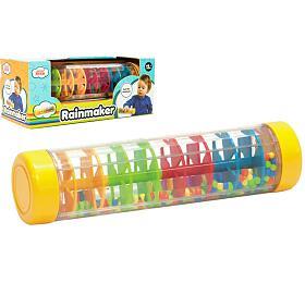 Kuličkový déšť/chrastítko barevné plast 20cm hlavolam vkrabičce 21x8,5x8,5cm 12m+