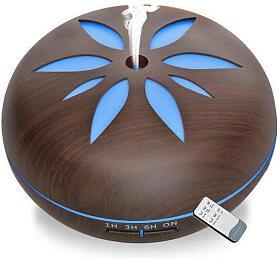 Aroma difuzér Y02 550ml tmavé dřevo -ultrazvukový, 7barev LED, dálkové ovládání HUTERMANN