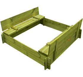 Marimex pískoviště dřevěné čtyřhranné skrytem/lavičkou