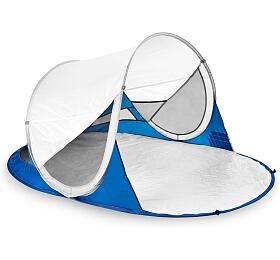 Spokey STRATUS Samorozkládací plážový paravan, UV40, 195x100x85 cm- bílo-modrý