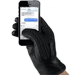 MUJJO kožené háčkované dotykové rukavice pro SmartPhone
