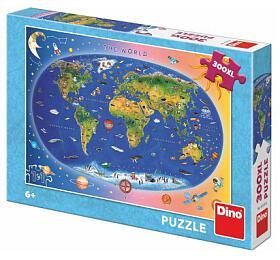 Puzzle Dětská mapa světa ilustrovaná 300XL dílků 47x33cm vkrabici 27x19x4cm
