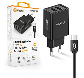 Aligator 2.4A, 2xUSB, smart IC, černá, USB-C kabel 2A