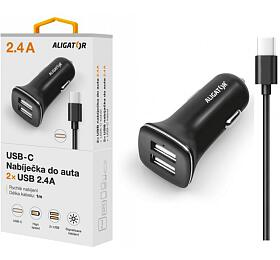 Aligator USB-C s2xUSB výstupem 2,4A, Turbo charge, černá
