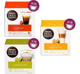 SET NESCAFÉ® Dolce Gusto® Lungo, Cappuccino, Latte Macchiato kávové kapsle, 3x16 ks