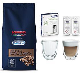 DeLonghi Kimbo 100% Arabica 1kg zrnková +DeLonghi EcoDecalk mini +Skleničky nacappuccino DeLonghi