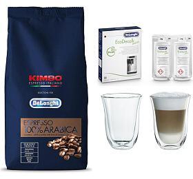 DeLonghi Kimbo 100% Arabica 1kg zrnková +DeLonghi EcoDecalk mini +Skleničky nalatte macchiato DeLonghi