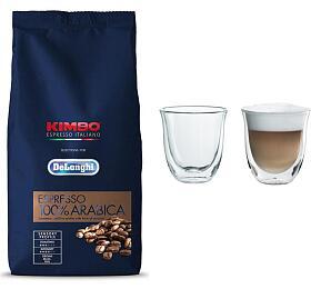DeLonghi Kimbo 100% Arabica 1kg zrnková +Skleničky nacappuccino DeLonghi