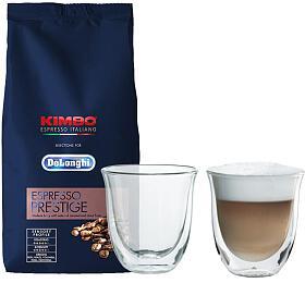 DeLonghi Kimbo Prestige 1kg +Skleničky nacappuccino DeLonghi