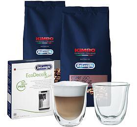 SET DeLonghi: Káva Kimbo Prestige 1kg +Kimbo Classic 1kg +EcoDecalk mini +Skleničky nacappuccino