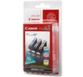 Canon CLI-521, 350 stran, originální -modrá/žlutá/růžová, rozbaleno