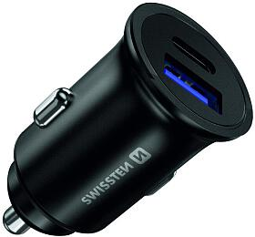 SWISSTEN CLADAPTÉR POWER DELIVERY USB-C +QUICK CHARGE 3.0 36W METAL ČERNÝ