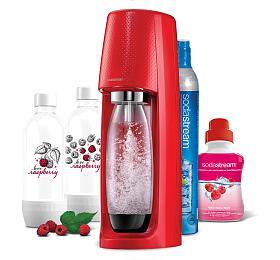 SodaStream Spirit Red +2ks lahev Jet Love Raspberry +Sirup malina 500ml