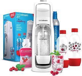 SodaStream JET WHITE +Lahev 2x1l +Příchuť malina 500ml