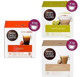 SET Nescafé Dolce Gusto Cappuccino, 16ks + Lungo, 16ks + Cortado, 16ks