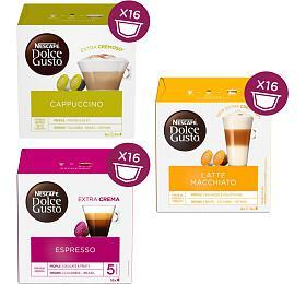 SET Nescafé Dolce Gusto Cappuccino, 16ks + Espresso, 16ks + Latte Macchiato, 16 ks