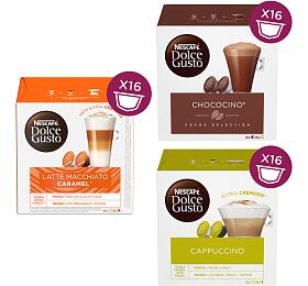 SET Nescafé Dolce Gusto Chococino, 16ks + Latte Macchiato Caramel, 16ks + Cappuccino, 16ks