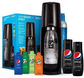 SET Výrobník sody SodaStream Spirit Black Pepsi MegaPack + Sirup Pepsi MAX 440 ml