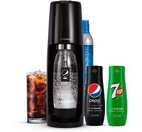 SET Výrobník sody SodaStream Spirit Black Pepsi MegaPack + Sirup 7UP 440 ml
