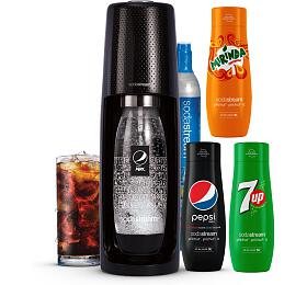 SodaStream Spirit Black Pepsi MegaPack +Sirup Pepsi Max 440 ml+ Sirup MIRINDA 440 ml+ Sirup 7UP 440 ml